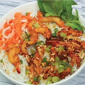 Grilled Shrimp and Squid Pho Noodle Bowl