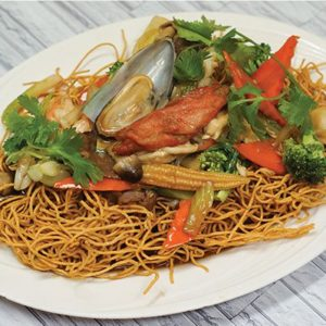 Combo seafood chow mein. Crispy fried noodles with a seafood and mixed vegetables